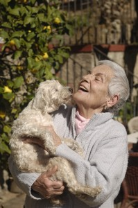 Senior women and dog